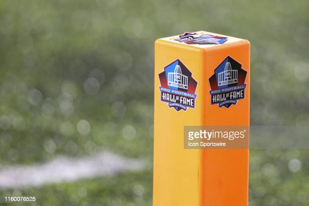 A general view of the end zone marker is seen during the Hall of Fame Game between the Atlanta Falcons and the Denver Broncos played at Tom Benson...