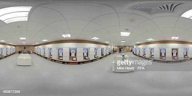 A general view of the England dressing room before the 2014 FIFA World Cup Brazil Group D match between Uruguay v England at Arena de Sao Paulo on...