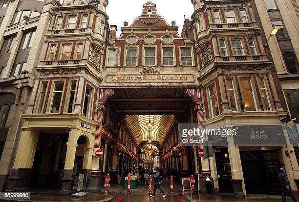 A general view of the enterance to Leadenhall Market in the City of London on April 16 2009 in London England The future of the historic market has...