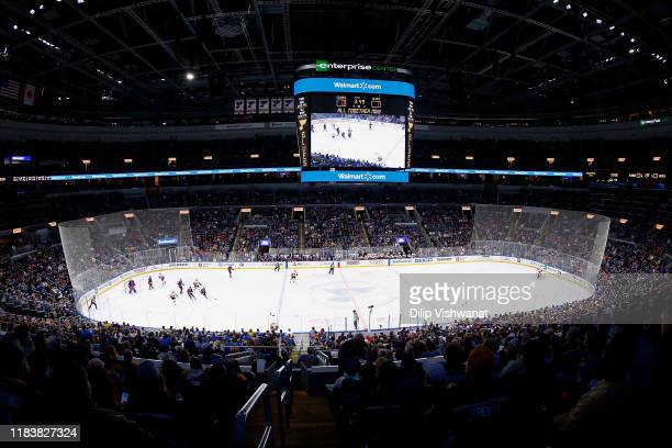 General view of the Enterprise Center during a game between the St. Louis Blues and the Calgary Flames on November 21, 2019 in St Louis, Missouri.