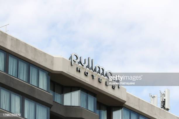 General view of the entrance and signage of The Pullman Hotel in Albert Park which is one of the three hotels being used for quarantine of players...