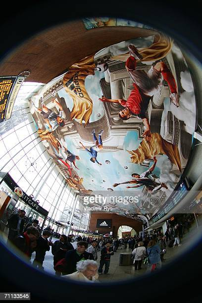 General view of the entrance hall is seen during the presentation of a huge 800 square meter World Cup Themed adidas poster at the entrance hall of...