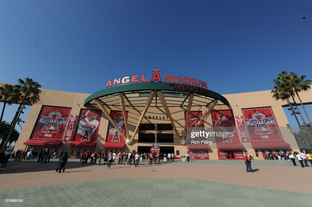 A general view of the entrance to Angel Stadium is seen prior to the game between the Los Angeles Angels of Anaheim and the Oakland Athletics at Angel Stadium in Anaheim, California on May 15, 2010. The Angels defeated the Athletics 12-3.