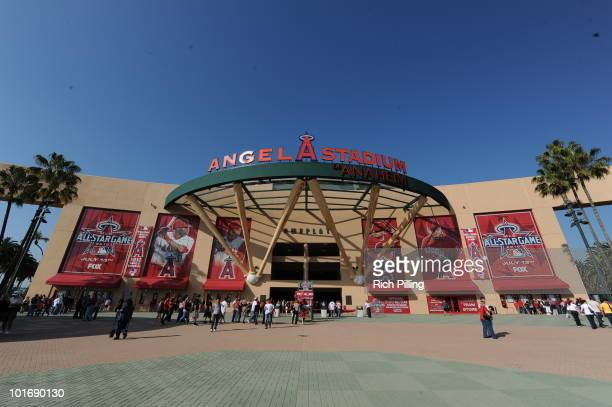 A general view of the entrance to Angel Stadium is seen prior to the game between the Los Angeles Angels of Anaheim and the Oakland Athletics at...