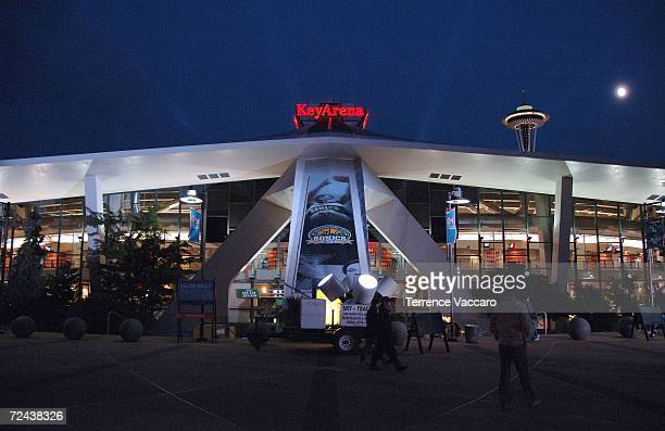 General view of the entrance to KeyArena before the NBA game between the Portland Trail Blazers and the Seattle SuperSonics on November 1, 2006 in...