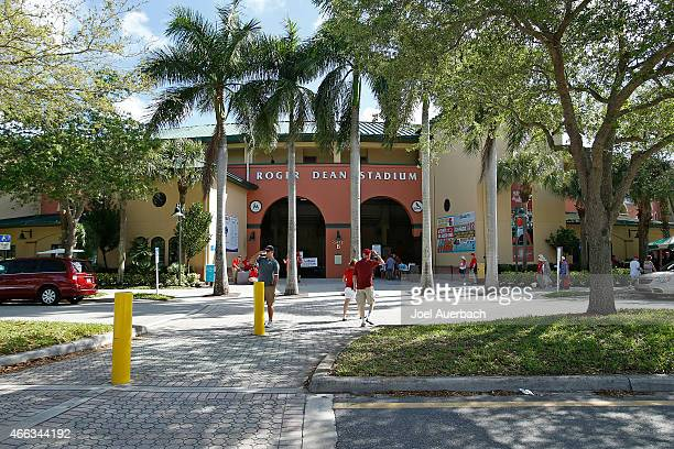 A general view of the entrance to Roger Dean Stadium prior to the spring training game between the St Louis Cardinals and the Minnesota Twins on...