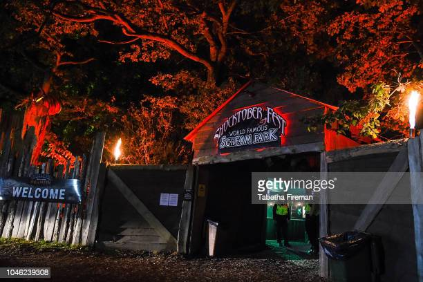 A general view of the entrance to Shocktober Fest at Tulleys Farm on October 5 2018 in Crawley West Sussex