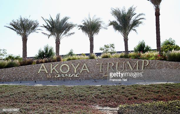 A general view of the entrance to the Akoya by Damac Trump International Golf Club on December 12 2015 in Dubai United Arab Emirates Pictures of...