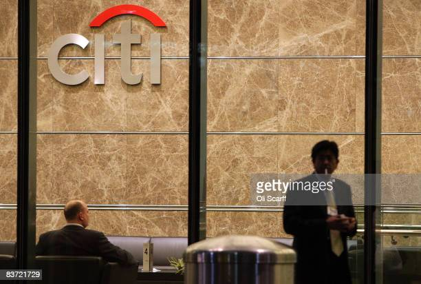 General view of the entrance to the Citigroup office in Canary Wharf on November 17, 2008 in London, England. The US bank has announced a further...