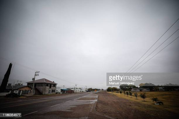 General view of the entrance to the community of LeBaron November 8 2019 in Le Barón Cihuahua Mexico Three families were traveling in separate SUVs...