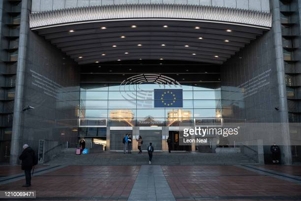 General view of the entrance to the European Parliament building in Leopold Espace on March 03, 2020 in Brussels, Belgium. The European Parliament...
