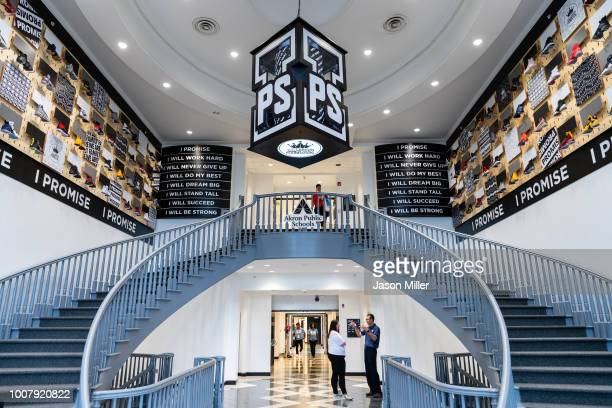 A general view of the entrance to the I Promise School on July 30 2018 in Akron Ohio The School is a partnership between the LeBron James Family...
