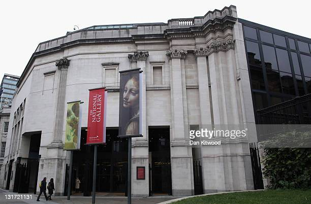 General view of the entrance to The National Gallery on November 7, 2011 in London, England. A major exhibition by painter Leonardo da Vinci,...
