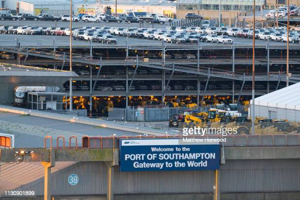 A general view of the entrance to the Port of Southampton on February 10 2019 in Southampton England The Port of Southampton is a passenger and cargo...