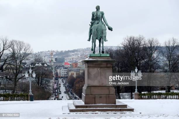 General view of the equestrian statue of Norwegian King Carl Johan XIV situated in front of the Royal Palace ahead of Prince William Duke of...