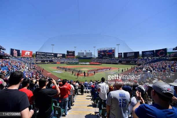 General view of the Estadio de Beisbol Monterrey during the opening ceremony of the second game of the Mexico Series between the Cincinnati Reds and...