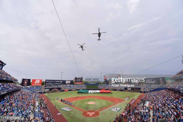 General view of the Estadio de Beisbol Monterrey prior the Houston Astros vs Los Angeles Angels of Anaheim match as part of the Mexico Series at...
