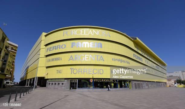 General view of the Estadio de la Ceramica during the Liga match between Villarreal CF and Sevilla FC at Estadio de la Ceramica on June 22, 2020 in...