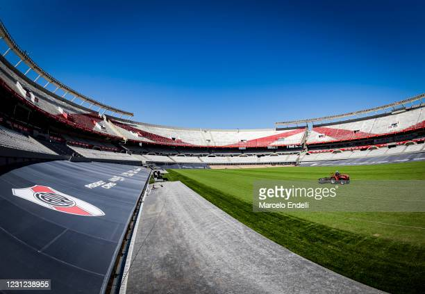General view of the Estadio Monumental Antonio Vespucio Liberti during the restoration works ahead of its reopening on February 18, 2021 in Buenos...