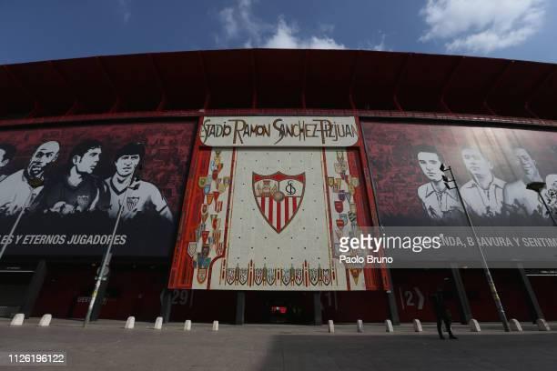 General view of the Estadio Ramon Sanchez Pizjuan before the UEFA Europa League Round of 32 Second Leg match between Sevilla v SS Lazio at Estadio...