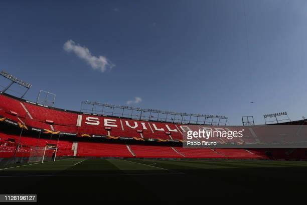 A general view of the Estadio Ramon Sanchez Pizjuan before the UEFA Europa League Round of 32 Second Leg match between Sevilla v SS Lazio at Estadio...