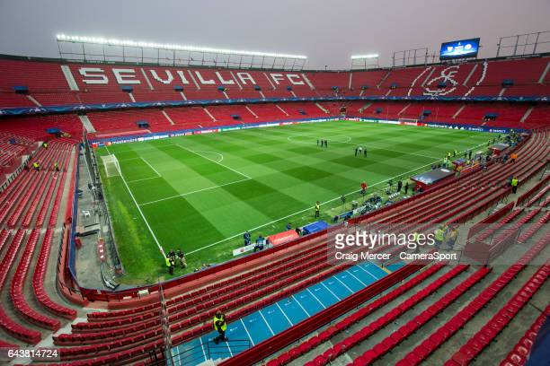 A general view of the Estadio Ramon Sanchez Pizjuan home of Sevilla ahead of the UEFA Champions League Round of 16 first leg match between Sevilla FC...