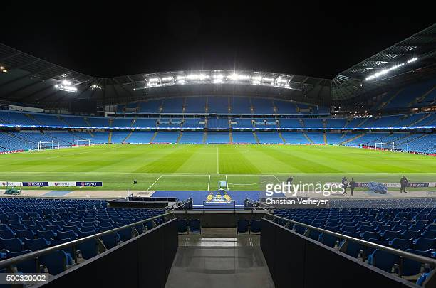 A general view of the Ethiad Stadium ahead the UEFA Champions League group D match against Manchester City at Etihad Stadium on December 07 2015 in...