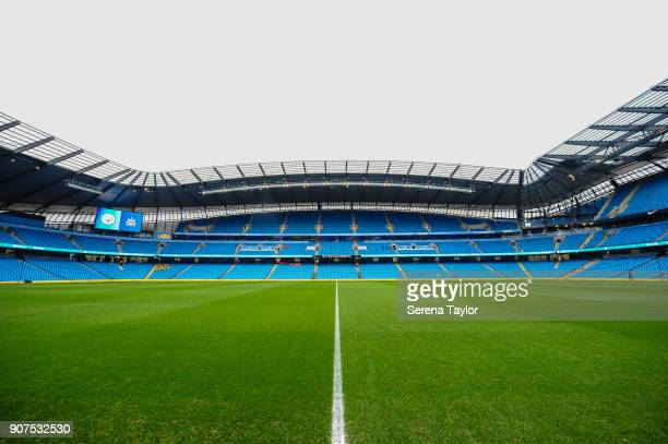 A general view of the Etihad Stadium before the Premier League match between Manchester City and Newcastle United at the Etihad Stadium on January 20...