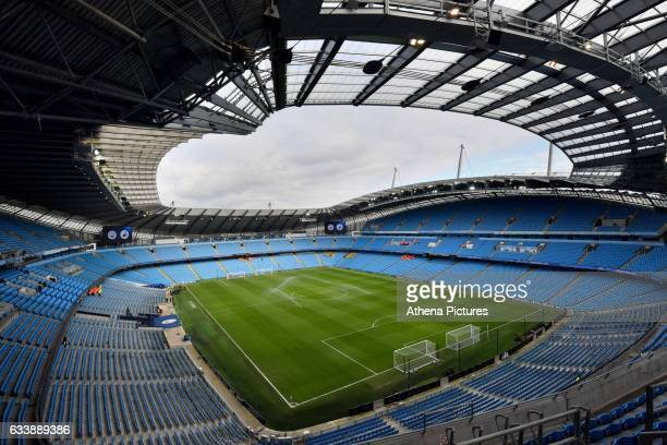 General view of the Etihad stadium during the Premier League match between Manchester City and Swansea City at the Etihad Stadium Manchester England