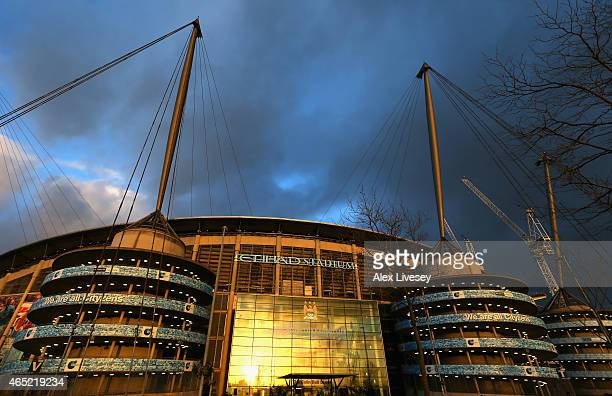A general view of the Etihad Stadium is seen prior to the Barclays Premier League match between Manchester City and Leicester City at Etihad Stadium...