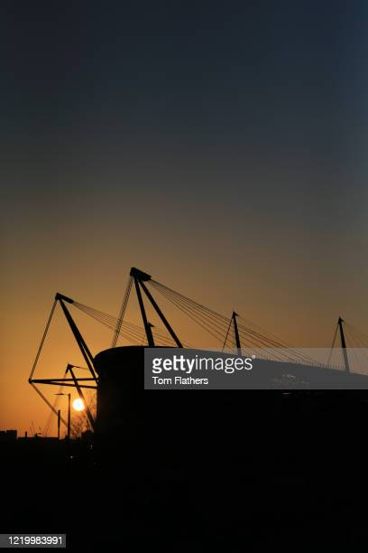 A general view of the Etihad Stadium on April 07 2020 in Manchester England