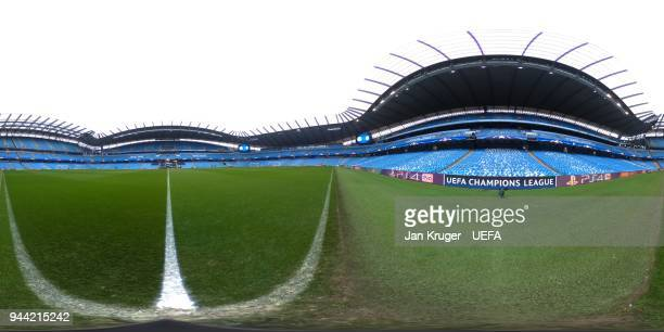 A general view of the Etihad Stadium prior to the UEFA Champions League quarter final second leg between Manchester City and Liverpool on April 10...