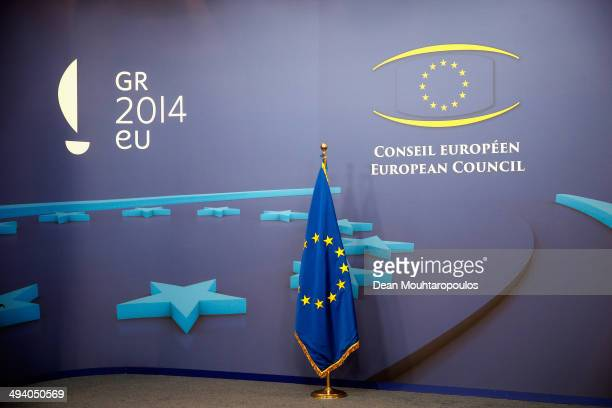 A general view of the EU Flag and logo prior to the Informal Dinner of Heads of State or Government held at the Justus Lipsius Building on May 27...
