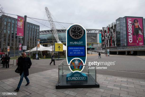 A general view of the Euro 2020 countdown clock at Wembley Stadium on March 17 2020 in London England Euro 2020 has been postponed by one year until...