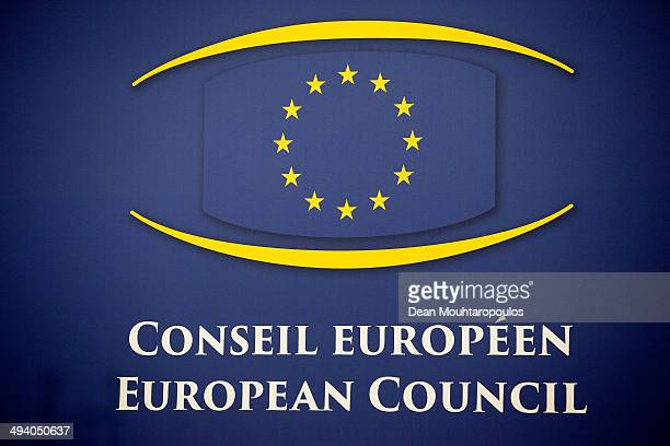 A general view of the European Council or Conseil Europeen logo prior to the Informal Dinner of Heads of State or Government held at the Justus...