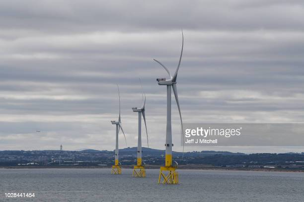 General view of The European Offshore Wind Deployment Centre located in Aberdeen Bay on September 7, 2018 in Aberdeen, Scotland. The European...