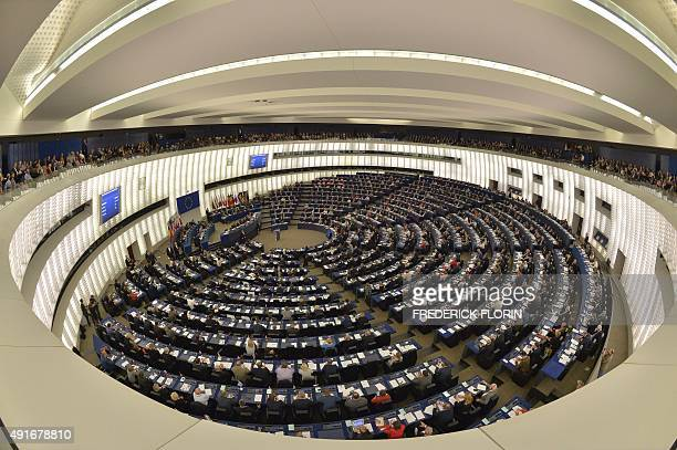 General view of the European Parliament taken on October 7 2015 in Strasbourg eastern France during a joint address of French President and German...