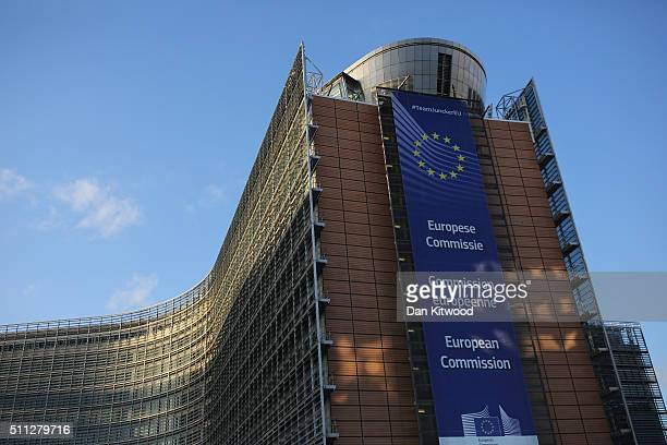 A general view of the European Union Commission headquarters during the second day of the EU Summit as British Prime Minister David Cameron continues...