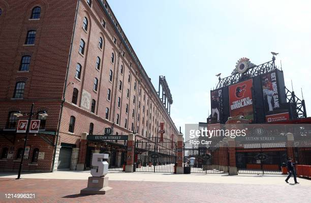 General view of the Eutaw Street entrance of Oriole Park at Camden Yards on March 26, 2020 in Baltimore, Maryland. The Baltimore Orioles and New York...