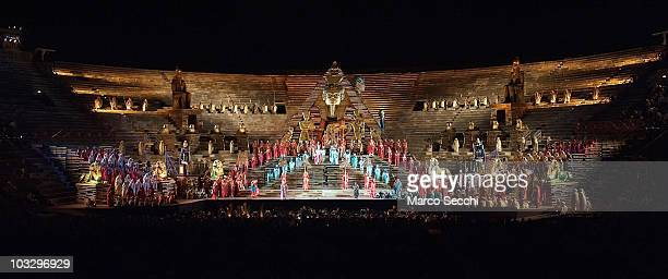 A general view of the evening performance of 'Aida' act 2 scene 2 at the Arena on August 8 2010 in Verona Italy The city of Verona is hosting the...