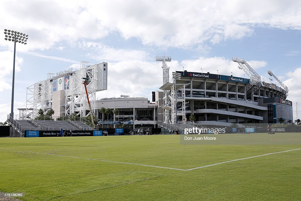 A general view of the Everbank Field Stadium, home of the Jacksonville Jaguars, at the Florida Blue Health and Wellness Practice Fields on May 27, 2015 in Jacksonville, Florida.