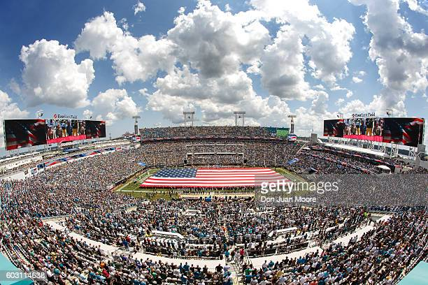 A general view of the EverBank Field with the American Flag across the field during pregame ceremonies honoring 9/11 before the Jacksonville Jaguars...