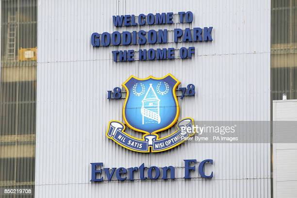 General view of the Everton club crest on the exterior of Goodison Park
