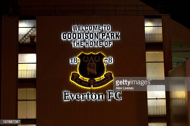 General View of the Everton Club Crest prior to the Barclays Premier League match between Everton and Tottenham Hotspur at Goodison Park on January 5...