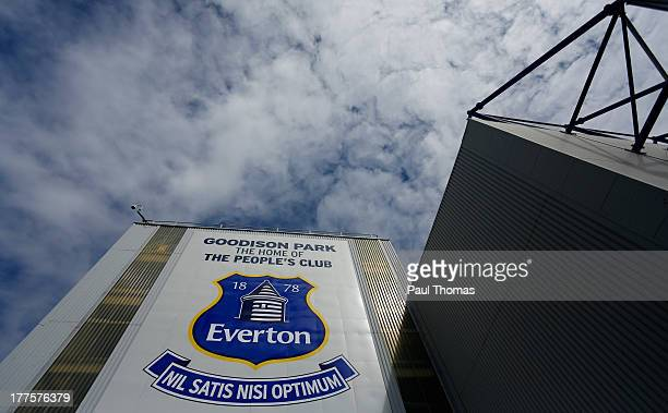 A general view of the Everton logo before the Barclays Premier League match between Everton and West Bromwich Albion at Goodison Park on August 24...