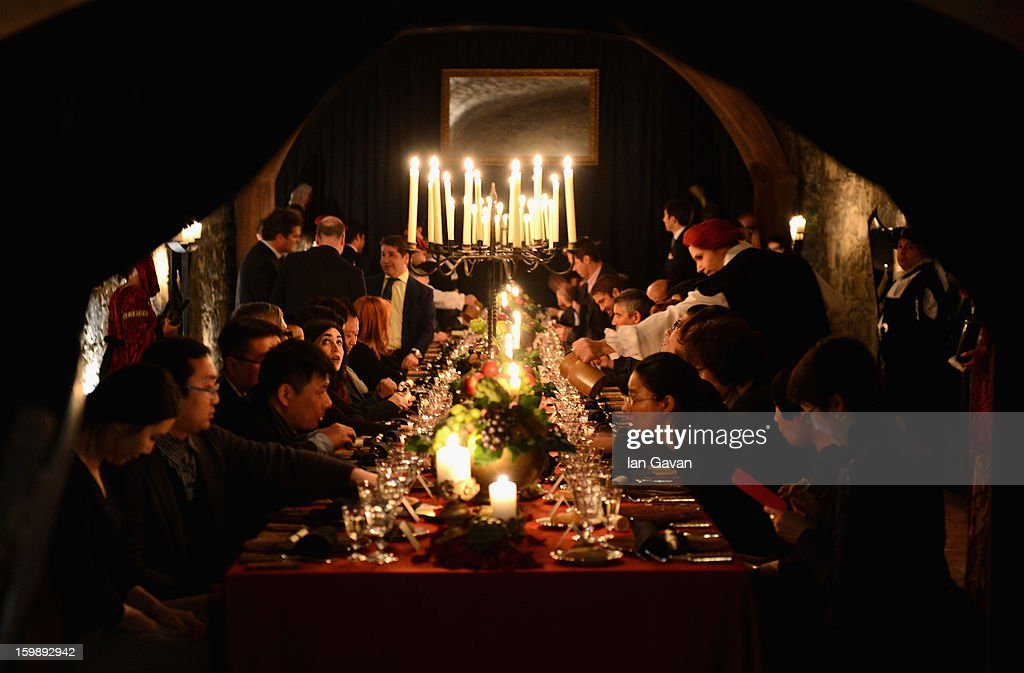 A general view of the Excalibur Dinner hosted by Roger Dubuis during the 23rd Salon International de la Haute Horlogerie at Caves des Vollandes on January 21, 2013 in Geneva, Switzerland.