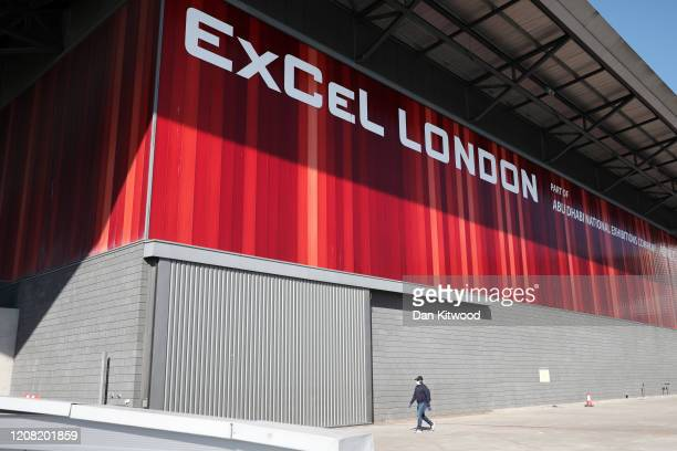 A general view of the ExCeL Centre which the NHS will use as a makeshift field hospital to treat coronavirus patients on March 25 2020 in London...