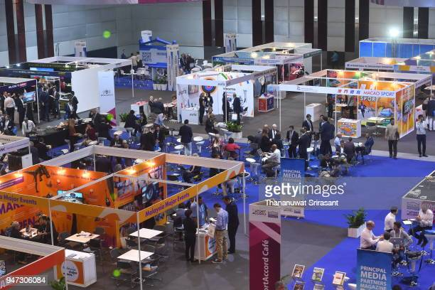 A general view of the exhibition area on day three of the SportAccord at Centara Grand Bangkok Convention Centre on April 17 2018 in Bangkok Thailand