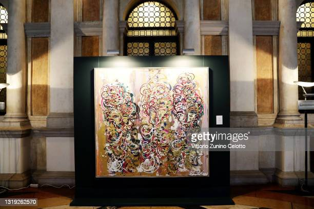 """General view of the exhibition opening """"Leonismo"""" by artist Leon Loewentraut on May 21, 2021 in Venice, Italy. In the library, directly on St. Mark's..."""