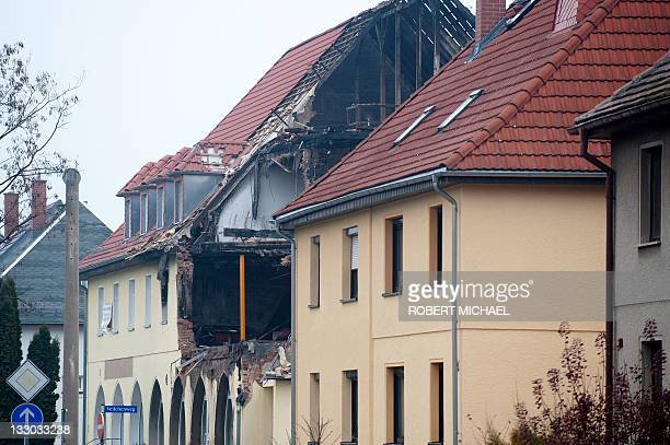 General view of the exploded house of selfconfessed neoNazi 36yearold woman Beate Z in Zwickau eastern Germany on November 16 2011 Beate Z had turned...